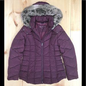 Nautica Women faux fur polyester jacket NWOT plum